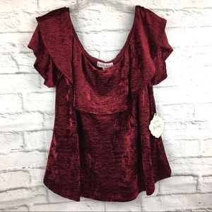 Knox Rose velour top XL scoop neck textured red